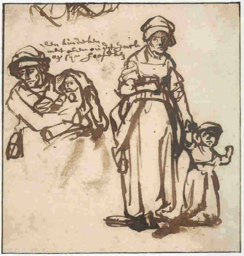 1636-rembrandt-studies-of-a-woman-with-two-children