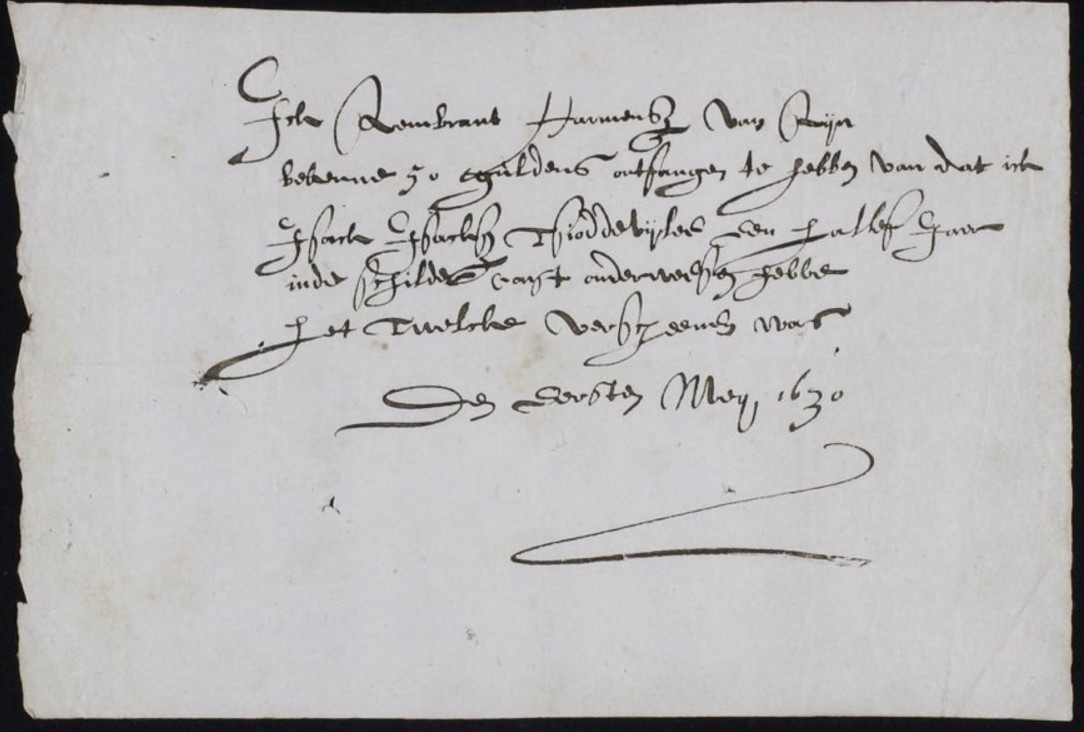receipt-for-the-apprenticeship-fee-paid-by-rembrandts-student-isaack-de-jouderville-1-may-1631