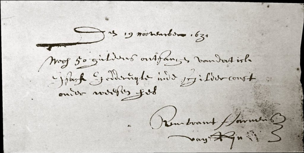 receipt-for-the-apprenticeship-fee-paid-by-rembrandts-student-isaack-de-jouderville-19-november-1631